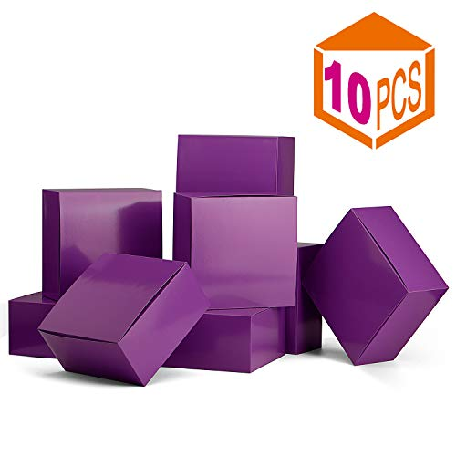 MESHA Gift Boxes 10Pack 8 x 8 x 4 Inches,Paper Gift Boxes with Lids for Gifts,Bridesmaid Proposal Box,Crafting, Cupcake Boxes (Purple) -