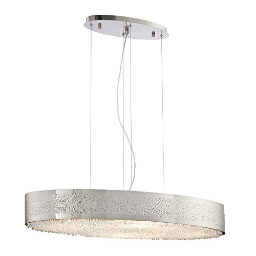 (Eurofase 28110-019 Modern Cara 8-Light Oval Chandelier, Satin Nickel)