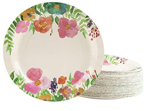 Floral Paper Plates - 80-Pack Disposable 9-Inch Floral Plates, Tea Party, Weddings, Bridal Shower Party Supplies, Vintage Watercolor Flowers Print, Round Plates for Appetizer, Lunch, Dessert