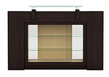 BERKELEY Reception Table With Glass Display Shelves And Side Cabinets,  Ideal For Salon, Office