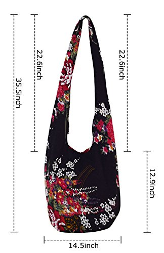 Witery Women's Sling Crossbody Bags Large Shoulder Shopping Hobo Bag Handbag Top Zip Bags Handmade Messenger Bag Wallet by Witery (Image #5)
