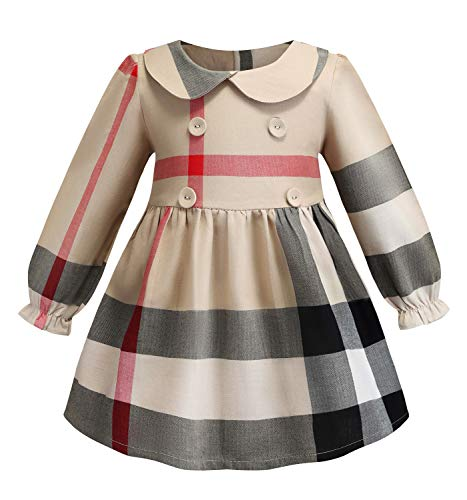 Yinggeli Little Baby Girls Long Sleeve Plaid Checked Princess Dress(Beige, 2-3 Years) -