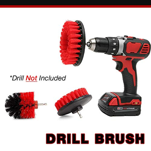 Grout Cleaner 5 Inch Flat Drill Brush Plus Corner Brush | Tile and Grout Cleaner Tool Drill Brush Attachment | Bathroom and Shower Scrubber | Soft and Stiff Brushes | Baseboard Cleaner Tool