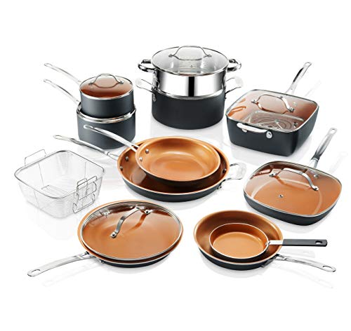 Gotham Steel Ultimate Chef 20 Piece Set Pots and Pans Nonstick Complete Cookware Set – Includes Fry Pans, Skillets, Stock Pots, Frying Basket, Egg Pan, Steamer Rack and More Dishwasher and Oven Safe