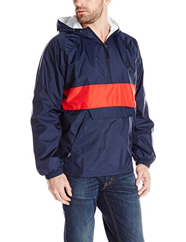 Charles River Apparel Men's Classic Striped Pullover Jacket, Navy/Red, Large (River Dock)
