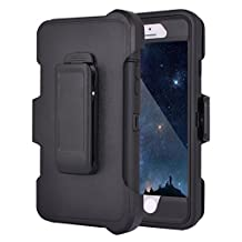 iPhone 6 Plus/6S Plus Case, Crosstree Hybrid Rubber Plastic Impact Defender Rugged Hard Case with Built-in Screen Protector and Belt Clip Holster (Black & Clip)