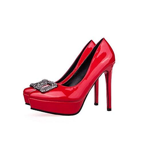 AalarDom Mujer Sin cordones Plataforma Tacón de aguja Material Suave Sólido De salón Rojo