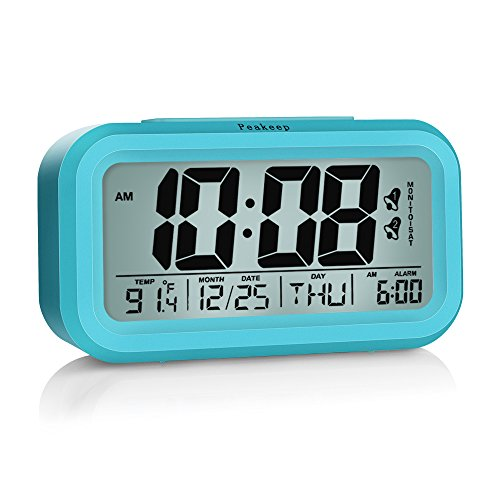Peakeep Digital Alarm Clock with 2 Alarms for Optional Weekday Mode, Snooze, Smart Night Light, Battery Operated Only (Blue) ()