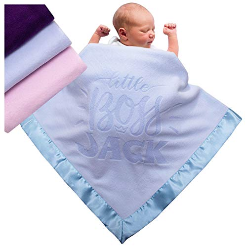 Personalized Baby Blankets Newborn Gifts for Boys, Girls Nursery Décor with Customize Name 3 Different Color Options (Design)