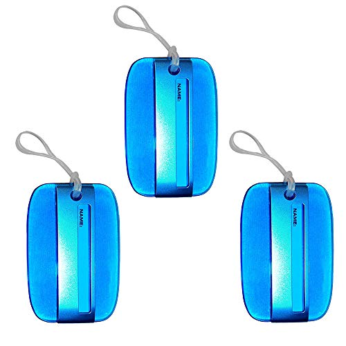 - Luggage Tags, Sky Blue, Transparent Acrylic, Silicone Strap, Travel Luggage Baggage Identifier, Suitcase Tags, LT262 - Lot of 3.