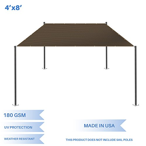 E K Sunrise 4 x 8 Sun Shade Sail-Brown Straight Edge Rectangle UV Block Durable Awning Perfect for Canopy Outdoor Garden Backyard-180GSM-Customized