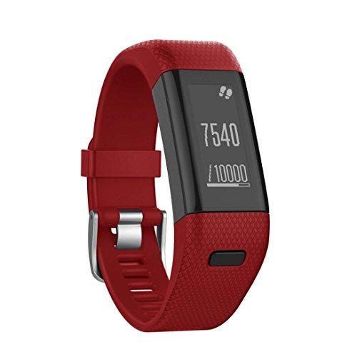Price comparison product image For Garmin Vivosmart HR+ Bands,  Gotd Replacement Accessories Bracelet Band Silicone Band Strap Smart Watch Strap Wristband For Garmin Vivosmart HR+ (Red)