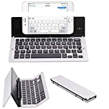 Ultra-Thin Folding Bluetooth Apple Portable Universal Mobile Phone Tablet Aluminum Wireless Folding Keyboard (Color : Silver)