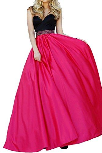 Victory Bridal Festlich Pink Schwarz Promkleider Abendkleider Satin Pailletten Guertel Lang A-linie Tanzenkleider
