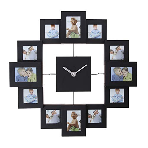 - ttnight Photo Frame Clock Wall Clock Multi Picture Aperture Family Picture Frame Clock,Silver Aluminum