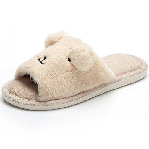 pestor Women's Soft Indoor Clog Slippers Open Toe Plush Memory Foam House Slipper Slip On Cute Animal Indoor Shoes (8-9, (Soft Womens Clogs)