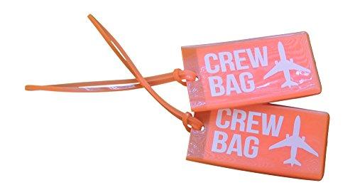 Airline Luggage Tags for Crews, Vinyl Luggage Tags, Set Of Three, Orange