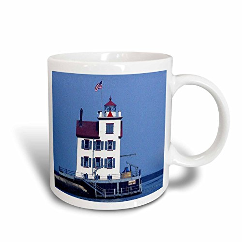 3dRose Sandy Mertens Ohio - Lorain Lighthouse in Lorain Looking Over Lake Erie - 15oz Mug (mug_61706_2)