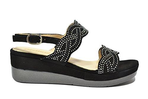 Melluso Sandali zeppa nero scarpe donna R7735