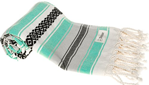 - Bersuse 100% Cotton - San Jose Extra Large (XL) Throw Blanket Turkish Towel - Mexican Style Pestemal - Bath Beach Fouta Peshtemal - Bed, Couch Throw, Table Cover, Picnic Mat - 57X92 Inches, Mint Green