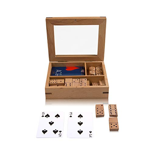 Handcrafted Classic Wooden Playing Card Holder Deck Box Storage Case Organizer with Dominoes & Dice Set & Pack of Premium Quality 'Ace' Playing Cards Birthday Housewarming Gift Ideas for Men Women (Dominos Gift)