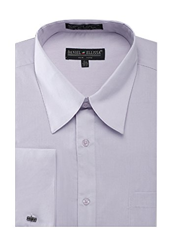 Sunrise Outlet Men's French Cuff Pat Riley Collar Dress Shirt - Silver 16.5 (Silver French Cuff)
