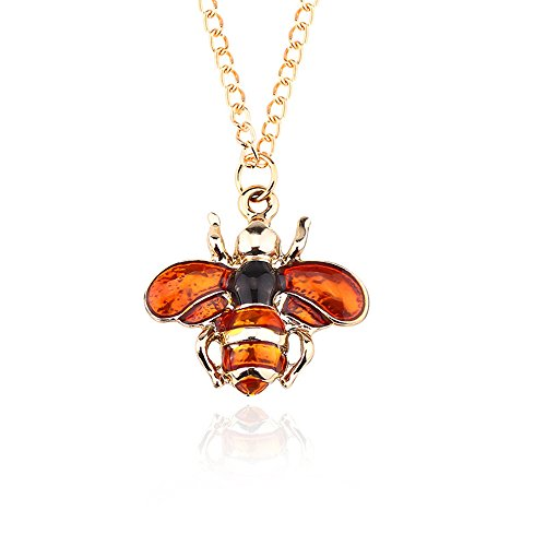 Dwcly Charm Yellow Purple Enamel Insect Bee Fly Pendant Necklace Lovely Gift for Kids (Enamel Bee Pendant)