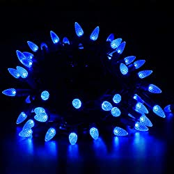 VanRayal 50LED Fairy Decorative String Light Plug in, C3 Christmas Lights Blue Indoor Outdoor for Patio,Party,House,Plants,and Xmas Tree