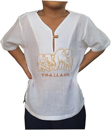 Elephant V-neck - PJ White Shirt for Kid Short Sleeves V Neck Elephant Pattern Casual Hippie Yoga Renaissance For Holiday (X-Large)