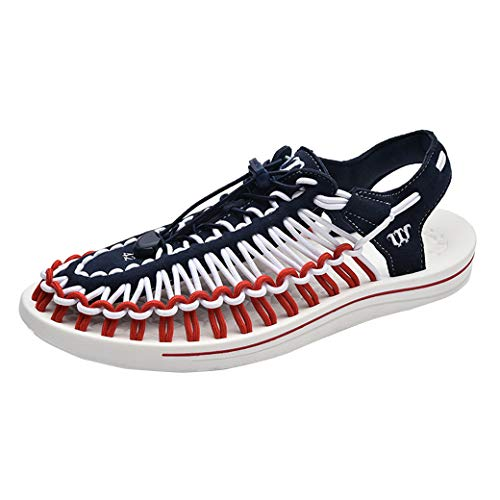 JAMON Men's Uneek Sandals Beach Handmade Breathable Adjustable Stripes Outdoor Causal Shoes with Massage Sole (11 M US, Red&Blue)