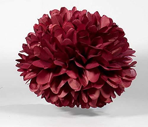 Gatton 10pcs 8inch 10inch Paper Pom Poms Decorative Paper Flower Hanging Rose Flower Balls DIY Paper Handmade Craft for Shower,Party Decorations, (10pcs, Burgundy) | Model WDDNG - 178 | -