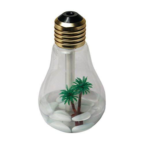 Suprempire Bulb-Shaped Air Humidifier Mini Desktop Air Purifier Atomizer Colorful LED Night Lights USB Portable for Office Home Kids Study (Gold Head Transparent)