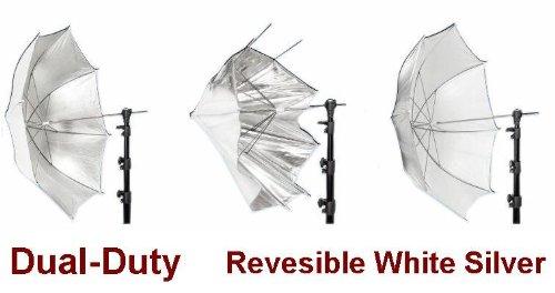 "Ardinbir 60"" 150cm Dual-Duty White & Silver Revesible Reflector Umbrella for Alienbees, Balcar, Bowens, Elinchrom, Hensel, Photogenic, Norman, White Lightning, Flash Broncolor, Pulso, Broncolor Impact, Visatec, Speedotron, Smith Victor Strobe Flash Light"