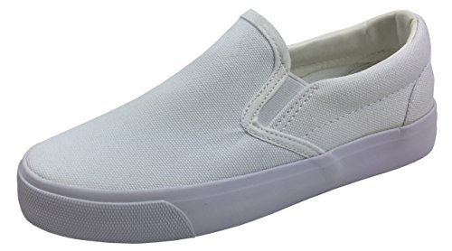 Toddler Classic Slip On Canvas Sneaker Tennis Shoes, White, 7 Toddler