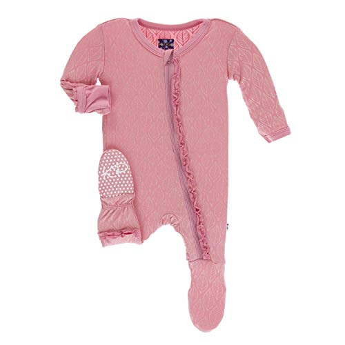 Kickee Pants Little Girls Print Muffin Ruffle Footie with Zipper - Desert Rose Gold Leaf, 6-9 Months]()