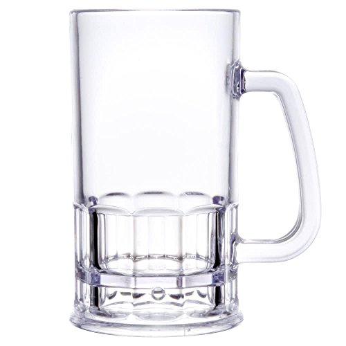 (Yanco SM-12-B Stemware Beer Mug, 12 oz, Clear Plastic, Pack of)