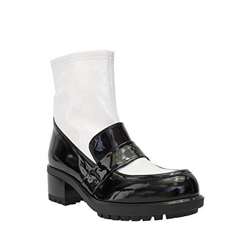 Guido Sgariglia Diseñador Italiano Penny Loafer Detalle Lug Sole Bota Black / White