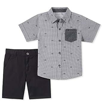 Calvin Klein Baby Boys 2 Pieces Shirt Shorts Set, Gray, 12M