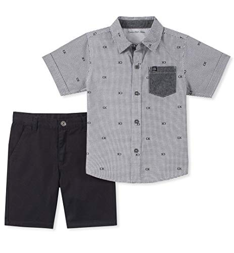 Calvin Klein Baby Boys 2 Pieces Shirt Shorts Set, Gray, 3-6 Months