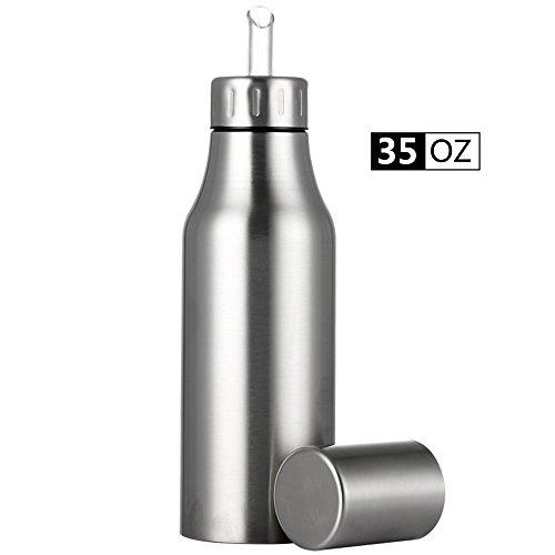 Olive Oil Vinegar Dispenser Cruet Leak Proof Oil Pourer Oil Sauce Bottles Unbreakable Stainless Steel Olive Oil Container Pot,Big Capacity Precise Oil Quantity Control for Kitchen & BBQ,35 oz/1000ML (Olive Pots)