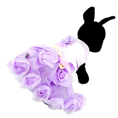 SELMAI Princess TuTu Dress for Small Dogs Girl Satin Rose Pet Puppy Cat Clothes Wedding Pleated Skirts Sweet Purple (Cats In Outfits)