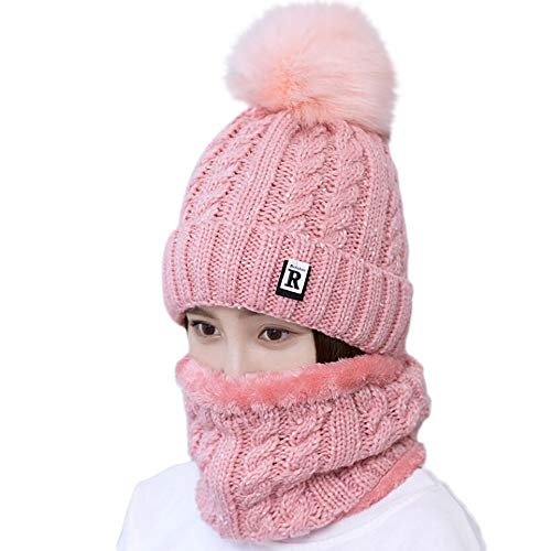HULKAY Womens Beanie Hat Scarf Set Lovely Ski Knit Warm Colorful Cap with Fleece Lined(Pink)