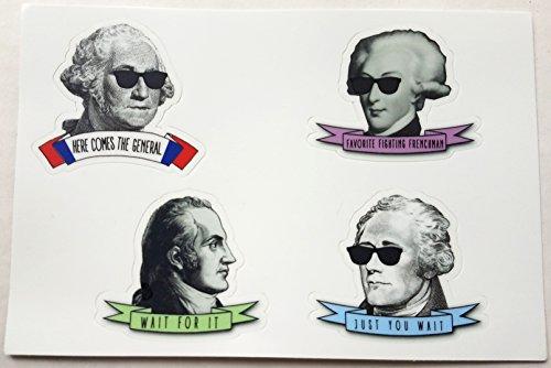 - 4 Sticker Sheet Hipster Alexander Hamilton, Washington, Lafayette, and Burr Set