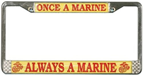 Once A Marine Always A Marine Chrome License Plate Frame