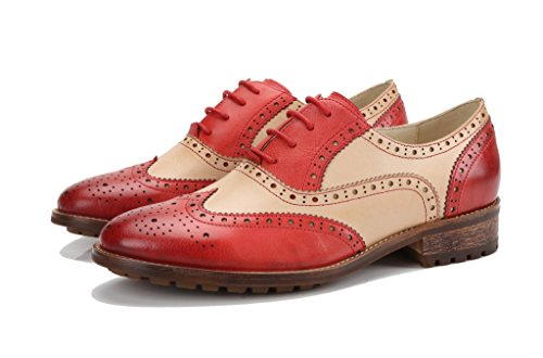 Vintage Shoes Beige Front Red Oxfords up U Perforated Close Women's Flat Leather lite Wingtip Lace Oxford qxFZOBwP