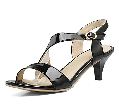Easemax Women's Stylish Patent Buckle Straps Open Toe Slingback Mid Chunky Heel Sandals Black 10 B(M) US