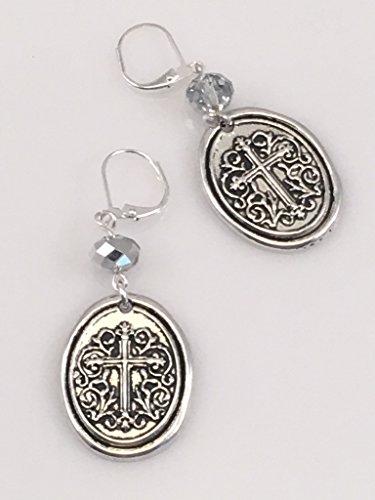 Cross Oval Crystal (Antiqued Pewter Oval Cross Earrings)