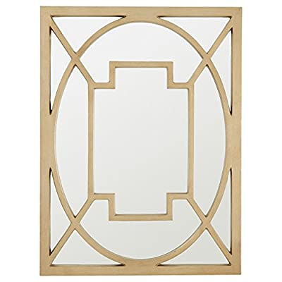 "Stone & Beam Champagne Metal Mirror, 40""H, Gold Finish - This mirror is an eye-catching and functional piece of art. Intersecting metal designs create a frame within the mirror to add a subtle statement. 30"" x 40"" Modern design with touch of glam - mirrors-bedroom-decor, bedroom-decor, bedroom - 41YOWXaNbXL. SS400  -"