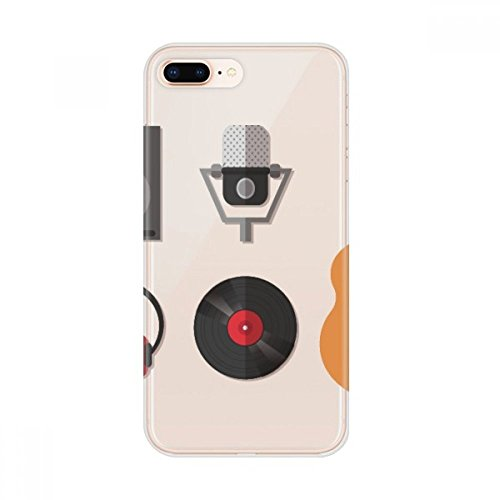 Guitar Headset CD Microphone Music Pattern Apple iPhone 7/8 Plus Phone Case Flexible Soft Slim Transparent Cover (Cd Colored Multi Slim)