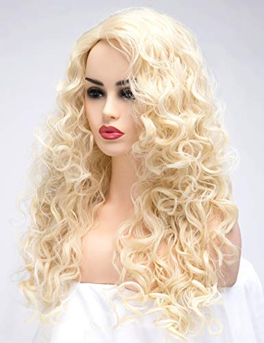 BESTUNG Long Blonde Hair Curly Wavy Full Head Halloween Wigs for Women Cosplay Costume Party Hairpiece (613#-Pale Blond) -